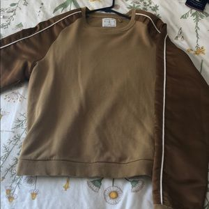 brown sweater with satin sleeves